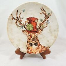 """IRONSTONE by Pier 1 Salad Plate 9"""" Forest Animal Regal Deer with Hat Dimpled"""