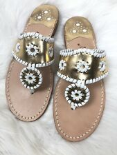 Jack Rogers Palm Beach Flat Leather Sandals Womens Size 8 Gold White