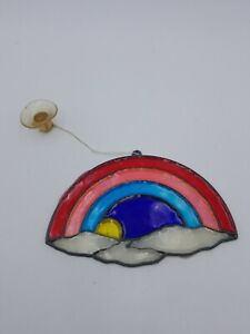 Vintage Rainbow clouds sun Suncatcher
