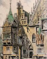 Helma Fischer-Oels (1860-1930) Farb-Radierung: BRESLAU STAUPSÄULE / Schlesien