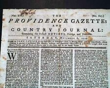 Rare Revolutionary War Southern Events 1779 Providence Ri Rhode Island Newspaper