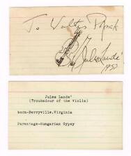 JULES LANDE Violinist Autograph Signed,Illustrated Card Troubadour of the Violin