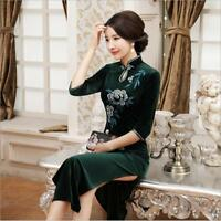 new green/purple Chinese women's  velvet evening long Dress/Cheong-sam 6-18