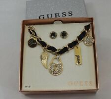 GUESS GOLD TONE NECKLACE W/MATCHING EARRINGS set *NEW * IN CASE