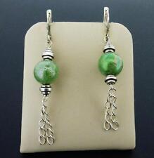 Silvertone Foil Art Glass Green Beads & Chain Dangle Euro-Lever Earrings