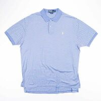 Vintage POLO RALPH LAUREN Blue Striped Casual Polo Shirt Size Mens XL