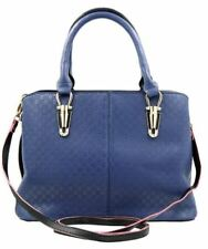 Synthetic Leather Bag Sling Top Handle Shoulder Bag (Navy Blue)