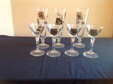 Mid-Century Modern Knights on Horseback Glasses; Signed Meth; Pilsners/Wine