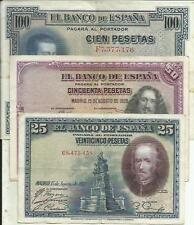 Spain Lot 3 Different Notes Republica. Vf Condition. 3Rw 5May