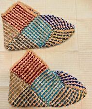 Women's Handmade Socks Slippers Hand Knitted Booties House Shoes Socks Size 7-8