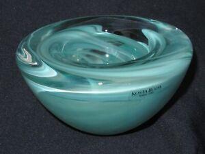 Kosta Boda ATOLL Glass Votive Candle Holder Bowl Aqua Blue Swirls Anna Ehrner