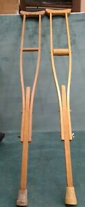 """48"""" Vintage Wooden Crutches Set Only 1 Rubber Grip on Handle rubber boots"""