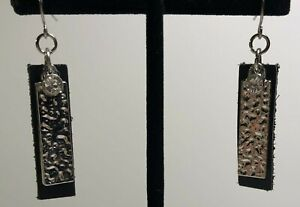 Handcrafted Black Leather & Metal Earrings With Clear Stone & Surgical Steel