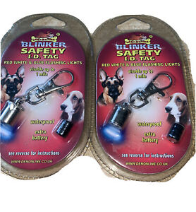 2 X Pet Safety Blinker Dog Cat ID Tag Flashing Lights Waterproof Visible 1 Mile