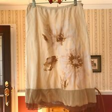 J Jill 100% Linen Skirt Brown Tan Lace Hem Below Knee Size M *Read