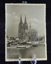 Postcard Koln Rhein mit Dom Germany BW RPPC