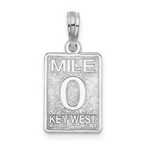 925 Sterling Silver 0 Mile Marker Key West Pendant Charm Necklace Travel