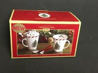 Set of 2 Spode Peppermint CHRISTMAS TREE Conical Mugs with Spoons -  New in Box