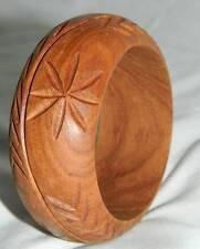 Wood Carved Wide Fashion Bangle Bracelet, EUC