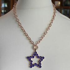 ROSE BRONZE REBECCA NECKLACE BIG STAR WITH PURPLE CRYSTAL CT 20.00 MADE IN ITALY