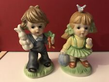 Homco Figurines Boy W/ Rabbit and Girl W/ Bluebird/birdhouse.porcel ain.spring