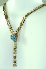 VICTORIAN ANTIQUE 9K 9CT GOLD BOOK CHAIN TURQUOISE NECKLACE