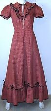 Vintage 1960s Women Clothing Prairie Maxi Dress Ruffled Red Calico Scalloped