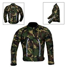 Men's Motorcycle Motorbike Jacket Waterproof Textile With CE Armoured Green Camo