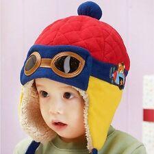 Bébé Chaud Hiver Polaire Chapeau Pilotes Style Aviateur avec earflaps rouge bleu