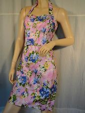 Vintage 100% cotton Pink floral Bustier halter Top pencil Skirt set 80's Italy M