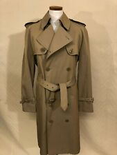 Misty Harbor Size 36R Men's Tan Double-Breasted Poly-Cotton Trench Coat