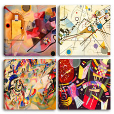 Quadri Moderni KANDINSKY 4 pz. cm 30x30 cad.  Stampa su tela Canvas Arredamento