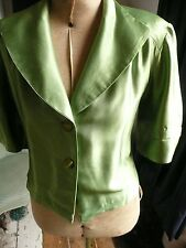 Vintage Handmade 40s WW2 Blitz Style Green Satin Short Jacket Evening Cover up