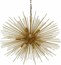 "12 Light Brushed Sputnik 29"" Wide Chandelier Modern Golden Brass Mid Century"