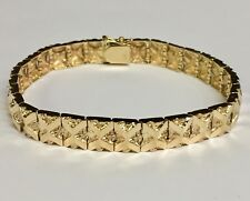 "10kt Solid Yellow Gold Handmade Fashion Mens Nugget Bracelet 9 mm 34 grams 10"""