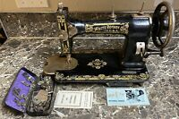 White Family Rotary Sewing Machine Antique 1920's Treadle + Accessories Tested