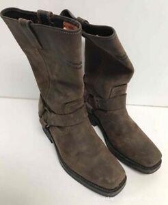 Harley-Davidson Square Toe 9.5 HUSTIN 11 Inch Brown Harness Leather Boots 85360