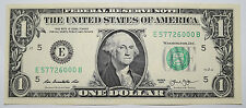 USA: $1 Dollar Banknote since 2013 in XF Condition. USD. Number: E 57726000 B