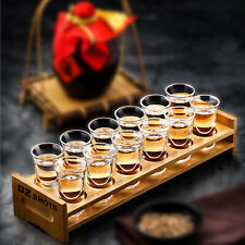 Bamboo Shot Glass Set With 12x Glasses For Whisky Vodka Rum and Tequila P