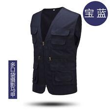 Men's Multi Pocket Travelers Fishing Photography Canvas Vest Outdoor Jacket Coat
