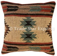 Indian Kilim Jute Cushion Cover 18x18 Vintage Hand Woven Rug Throw Pillow Cases