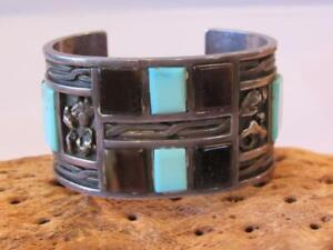 Old Pawn 1970's Zuni Silver and Turquoise Cuff Bracelet by Augustine A.Panteah