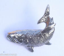 Spawning Fighting Salmon Handcrafted in Solid Pewter In The Lapel Pin Badge