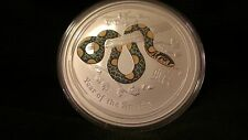 2013 2 oz Silver Australian Year of the Snake Colored Coin Bullion Colorized