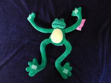 "Fiesta Pals Frog Hanging Hugging Green Yellow Stuffed Plush 18"" w tags 2000 Cute"