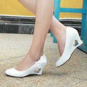 New Women's Party Shoes bowknot High Heart Platform Wedge Formal Shoes Size MOON