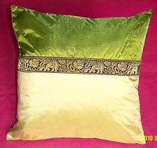 Beautiful Silk Elephants design olive green cream Cushion Covers16'' 40cm BN