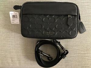 """COACH Graham  Black Signature C"""" Embossed Leather Crossbody Bag Unisex"""
