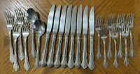 Wm A Rogers Deluxe Oneida MANSFIELD Stainless Forks Knives Spoons Lot of 21