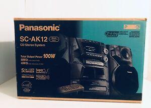 Panasonic SA-AK12 Home Shelf StereoSystem 5 CDChanger DualCassette In Box TESTED